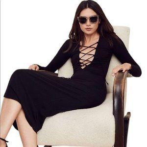 Reformation Edison black ribbed knit midi dress